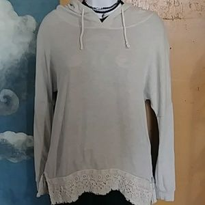 Super Soft Creamy Hoodie with lace detail fits M-L